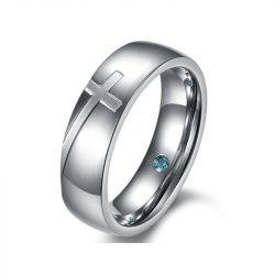 Jeulia Fancy Cross Titanium Steel Ring