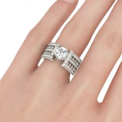 Modern Round Cut Sterling Silver Ring