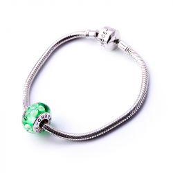 White Flowers Green Glass Charm