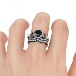 Milgrain Round Cut Sterling Silver Skull Ring