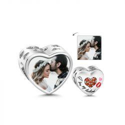 I Love My Husband Heart Shape Photo Charm Sterling Silver