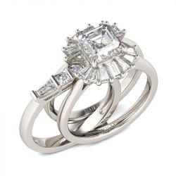 Modern Asscher Cut Interchangeable Sterling Silver Ring Set
