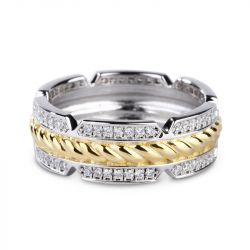 Two Tone Rope Sterling Silver Men's Band