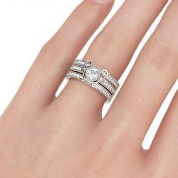 Milgrain Round Cut Sterling Silver Ring Set