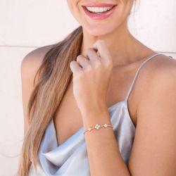 Jeulia Clover Cultured Pearl Sterling Silver Bracelet