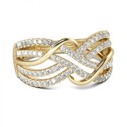 Gold Tone Intertwined Round Cut Sterling Silver Women's Band