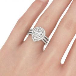 Double Halo Pear Cut Sterling Silver Ring Set