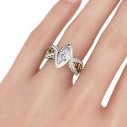 Vintage Two Tone Marquise Cut Sterling Silver Ring