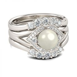 Halo Faux Pearl Sterling Silver 3PC Ring Set