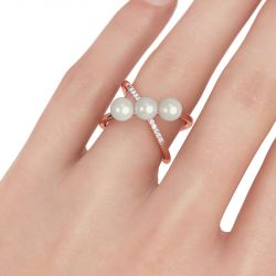 Jeulia  Crossover Cultured Pearl Sterling Silver Ring