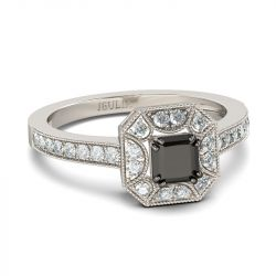 Halo Princess Cut Sterling Silver Ring