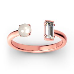 Cultured Pearl Sterling Silver Open Ring