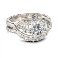 Intertwined Three Stone Round Cut Sterling Silver Ring Set