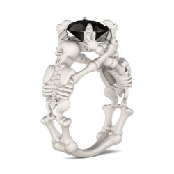 Skeleton Round Cut Sterling Silver Skull Ring