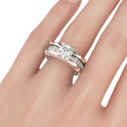 Milgrain Interchangeable  Round Cut Sterling Silver Ring Set