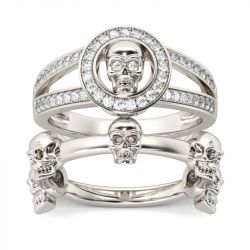 Split Shank Sterling Silver Skull Ring Set
