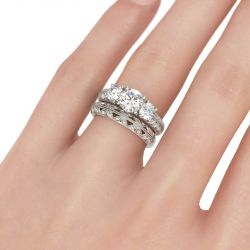 Milgrain Three Stone Round Cut Sterling Silver Ring Set