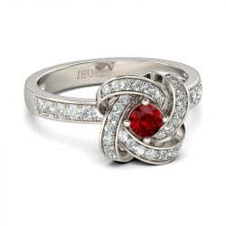 Jeulia   Twist Halo Round Cut Sterling Sliver Cocktail Ring
