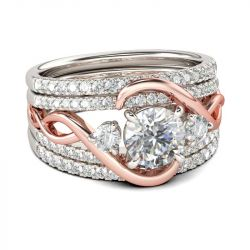 Two Tone Intertwined Round Cut Sterling Silver 3PC Ring Set