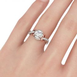 Two Tone Heart Design Round Cut Sterling Silver Ring