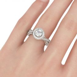 Milgrain Halo Round Cut Sterling Silver Ring