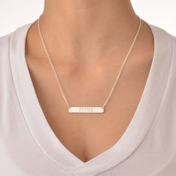Engraved Bar Necklace Sterling Silver