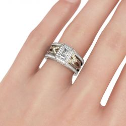Two Tone Radiant Cut Interchangeable Sterling Silver Ring Set