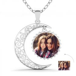 Crescent Moon Personalized  Photo Necklace Sterling Silver