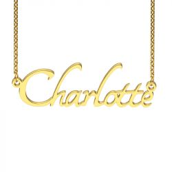 Gold Tone Tangerine Style Name Necklace