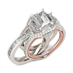 Interchangeable Three Stone Emerald Cut Sterling Silver Ring Set