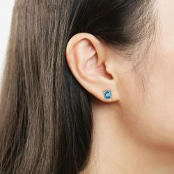 Classic Princess Cut Sterling Silver Stud Earrings