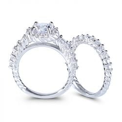 Braided Round Cut Sterling Silver Ring Set