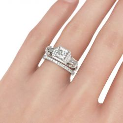 Three Stone Halo Princess Cut Sterling Silver Ring Set