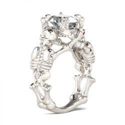 Skeleton Oval Cut Sterling Silver Skull Ring