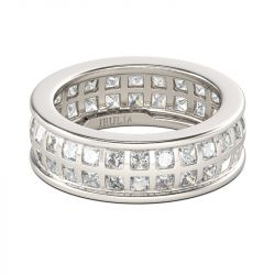 Bezel Set Princess Cut Sterling Silver Men's Band