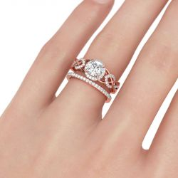 Halo Interwoven Round Cut Sterling Silver Ring Set