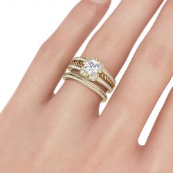 Gold Tone Floral Round Cut Sterling Silver Ring Set