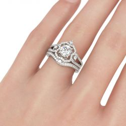 Halo Round Cut Sterling Silver Ring Set