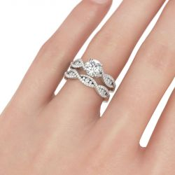 Intertwined Round Cut Sterling Silver Ring Set