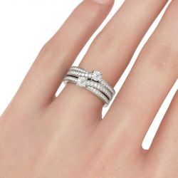 Two Stone Round Cut Sterling Silver Ring Set