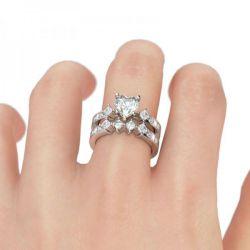 Heart Cut Sterling Silver Ring Set
