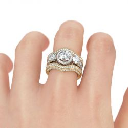 Halo Round Cut Sterling Silver Enhancer Ring Set
