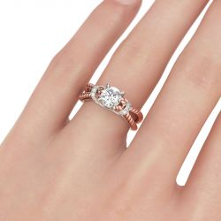 Rope Split Shank Round Cut Sterling Silver Ring
