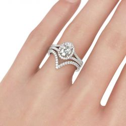 Split Shank Halo Oval Cut Sterling Silver Ring Set