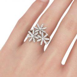 Flower Design Split Shank Sterling Silver Ring