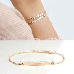 Rose Gold Tone Engraved Bracelet Sterling Silver