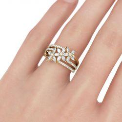 Flower Marquise Cut Split Shank Sterling Silver Ring