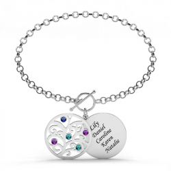 Family Tree Engraved Bracelet with Birthstones Sterling Silver