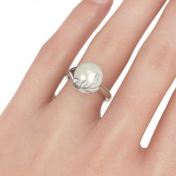 Leaf Design Faux Pearl Sterling Silver Ring