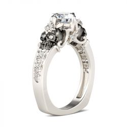 Europe Shank Round Cut Sterling Silver Skull Ring
